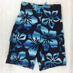 Boys blue Hawaiian floral swim trunks size M